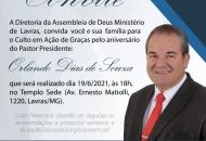 Culto em Ação de Graças pelo aniversário do Pastor Presidente e consagração de diáconos e presbíteros