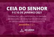 Orientações para participação da Ceia do Senhor no mês de janeiro de 2021